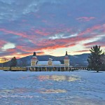 Conway Scenic Railroad. North Conway Village. Distant Winter Sunset
